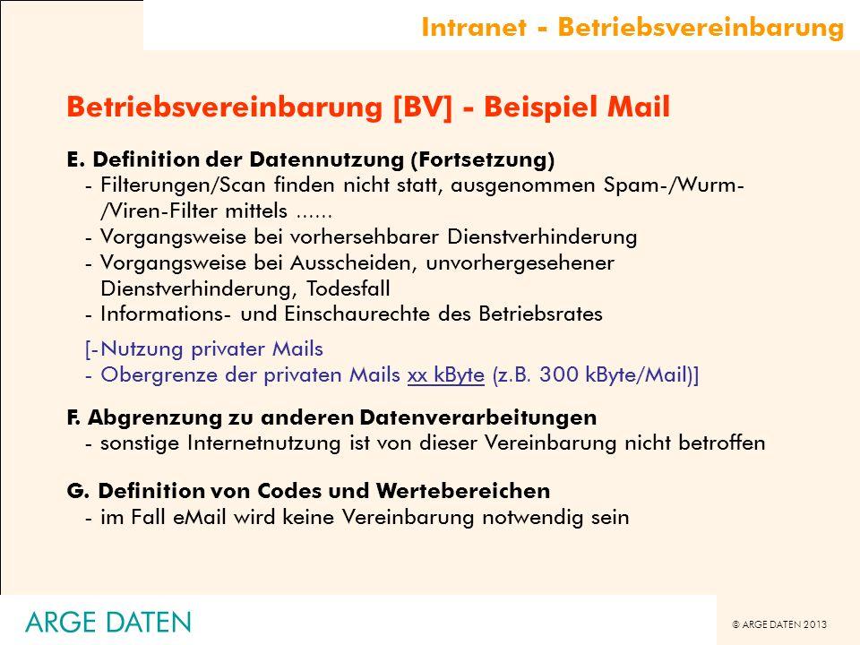 Betriebsvereinbarung [BV] - Beispiel Mail